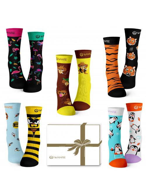 Ponožky Divoké Zvieratá Wantee 5-pack darčekový box