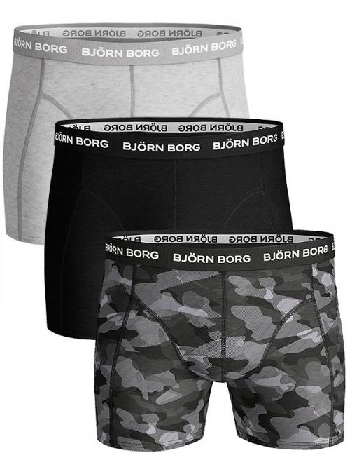 Pánske boxerky Björn Borg Shadeline Essential 3-pack-sivé, sivé army, čierne