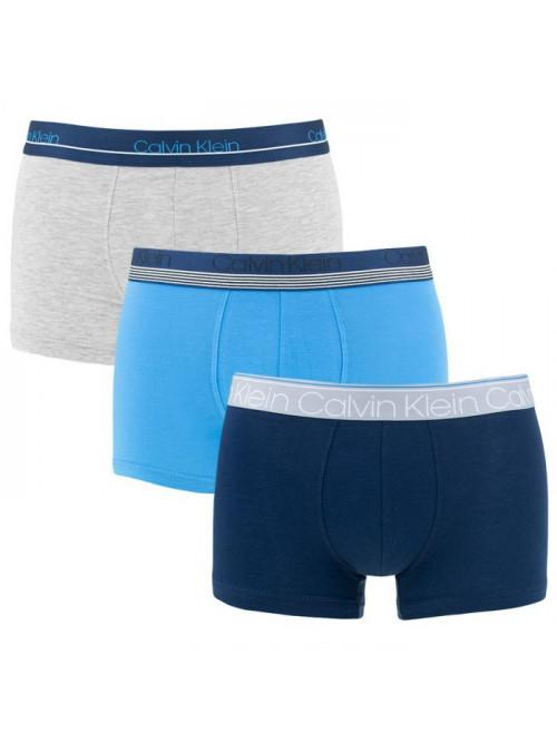 Pánske boxerky Calvin Klein Cotton Stretch 3-pack tmavomodré, modré, sivé