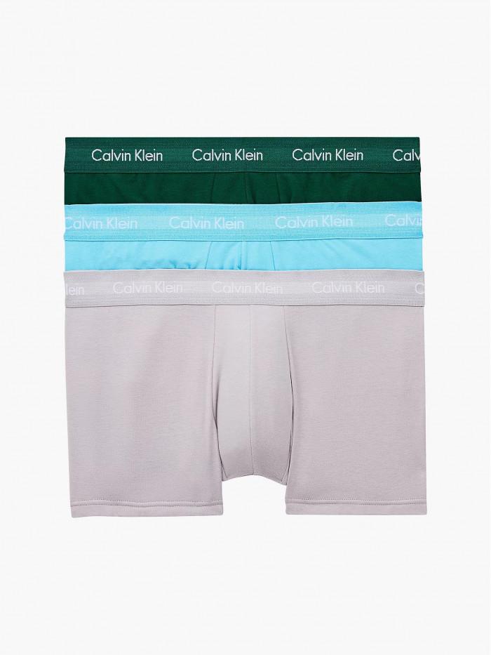 Pánske boxerky Calvin Klein Cotton Stretch Low Rise Trunk zelené, modré, sivé 3-pack