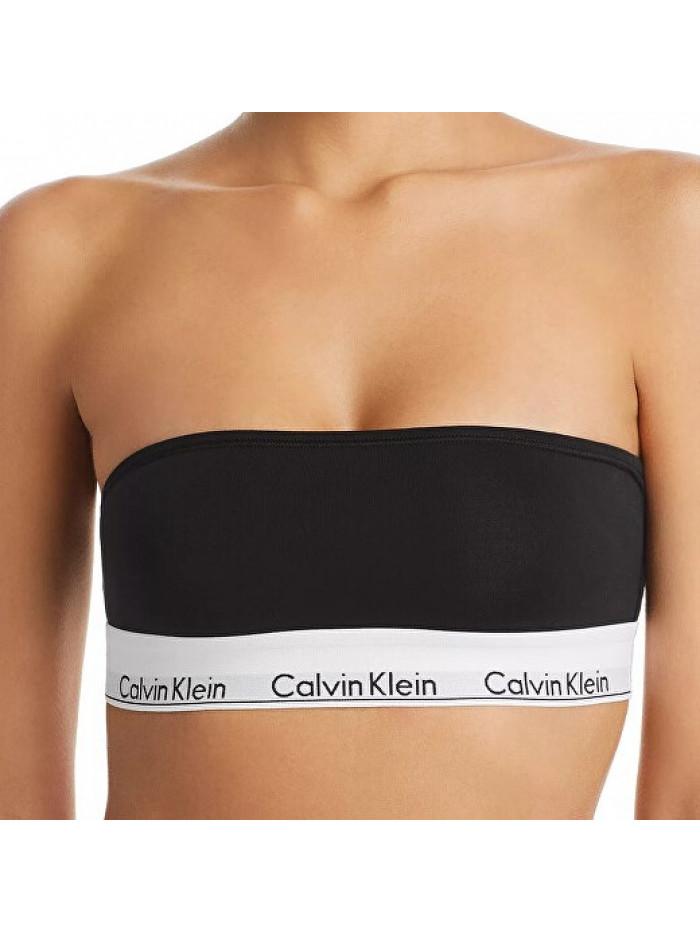 Dámska podprsenka Calvin Klein Unlined Bandeau čierna bez ramienok