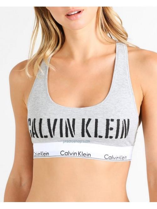 Dámska športová podprsenka Calvin Klein Bralette Unlined sivá