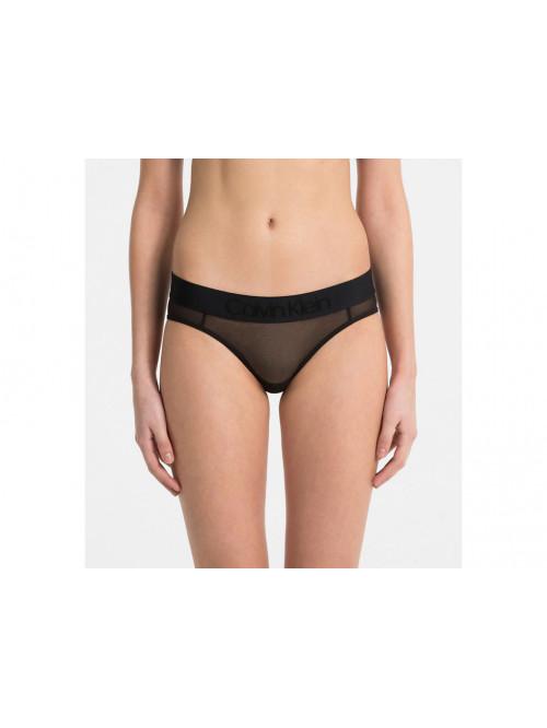 Dámske nohavičky Calvin Klein Bikini Tonal Logo Mesh čierne