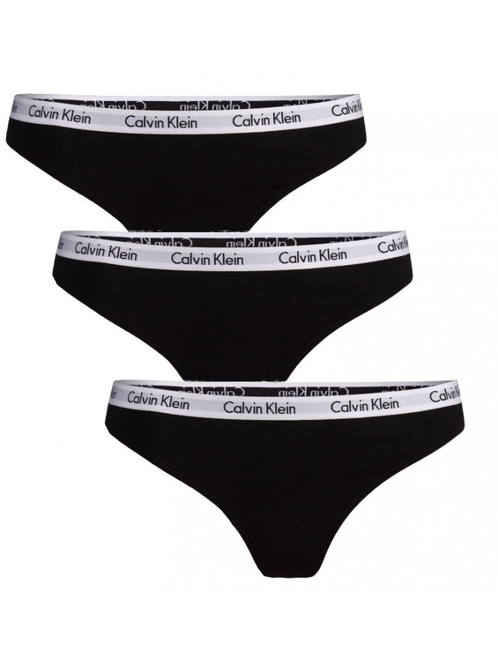 Dámske tangá Calvin Klein Carousel Thong čierne 3-pack