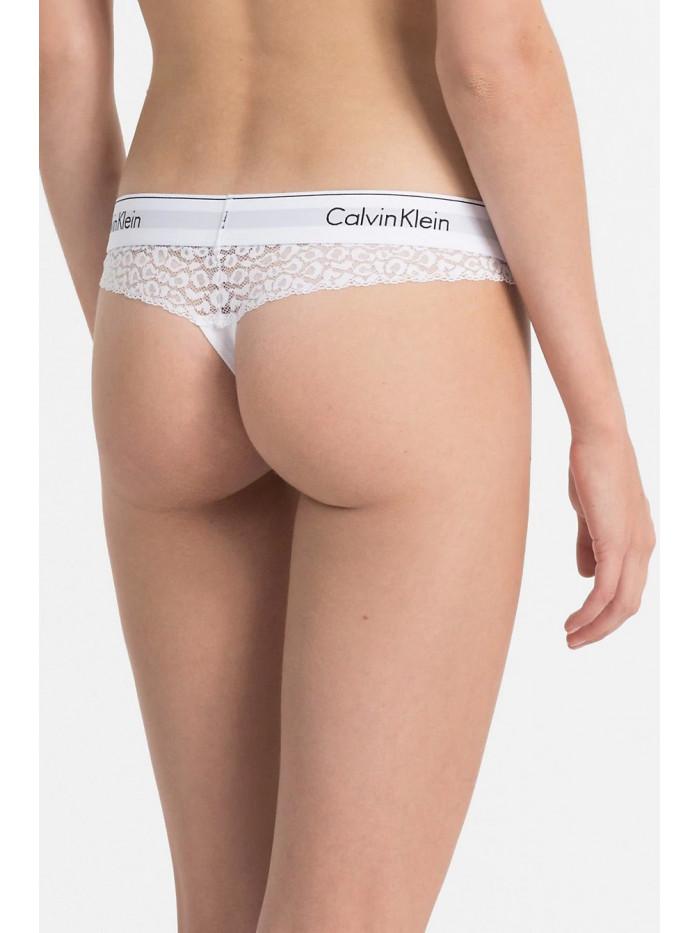 Dámske tangá Calvin Klein Modern Cotton Lace Thong biele