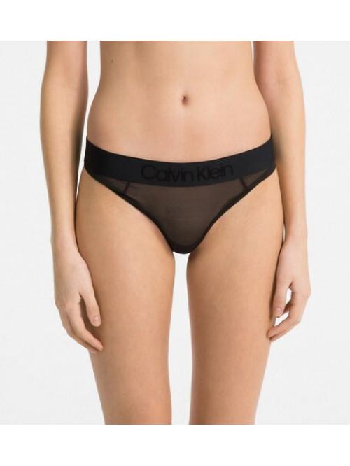 Dámske nohavičky Calvin Klein Tonal Logo Mesh Bikini priesvitné čierne