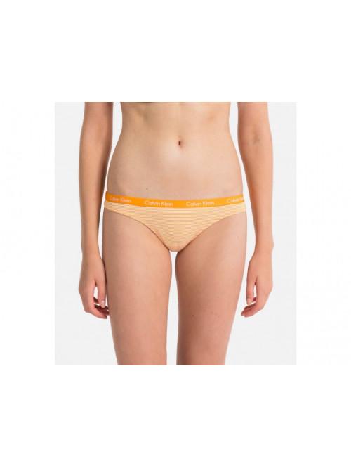 Dámske tangá Calvin Klein Carousel Thong Vibration pásikavé žlté