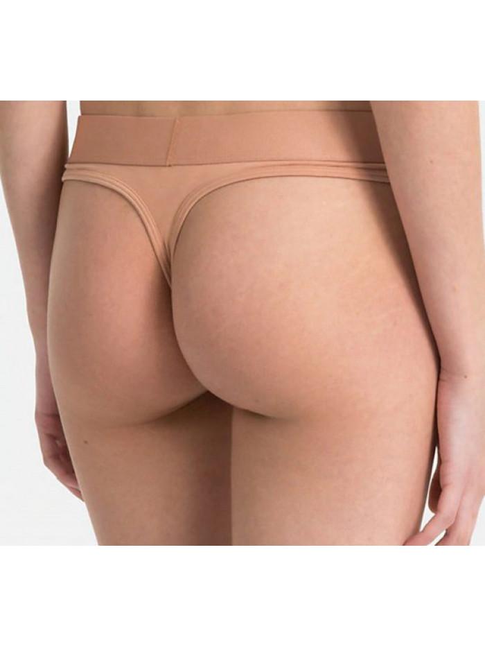 Dámske tangá Calvin Klein Tonal Logo Thong béžové