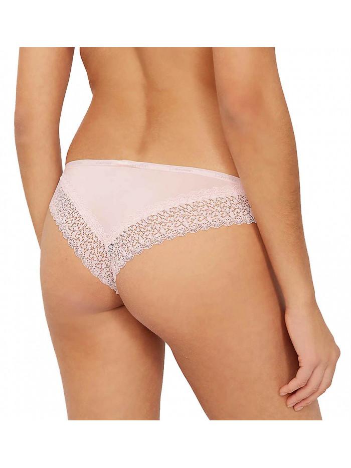Dámske brazílske nohavičky Calvin Klein Brazilian Panty Flirty s čipkou ružové