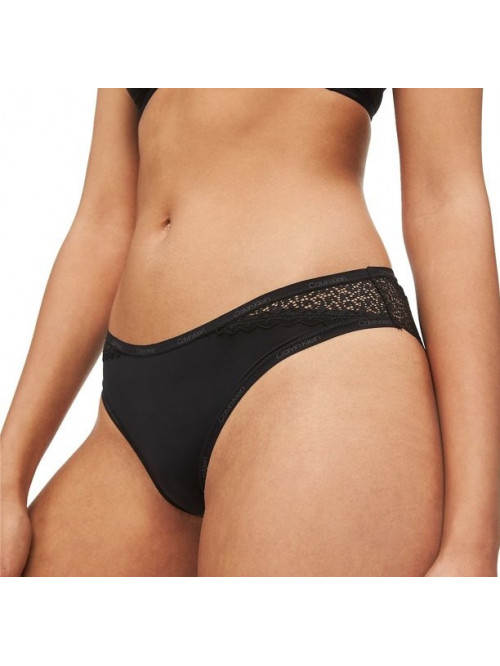 Dámske nohavičky Calvin Klein Bikini Panty Flirty s čipkou čierne