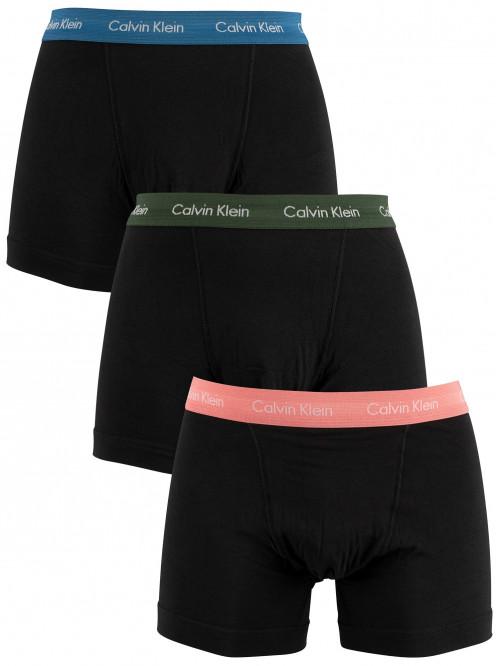 Pánske boxerky Calvin Klein Cotton Stretch čierno- modré, ružové, zelené 3-pack