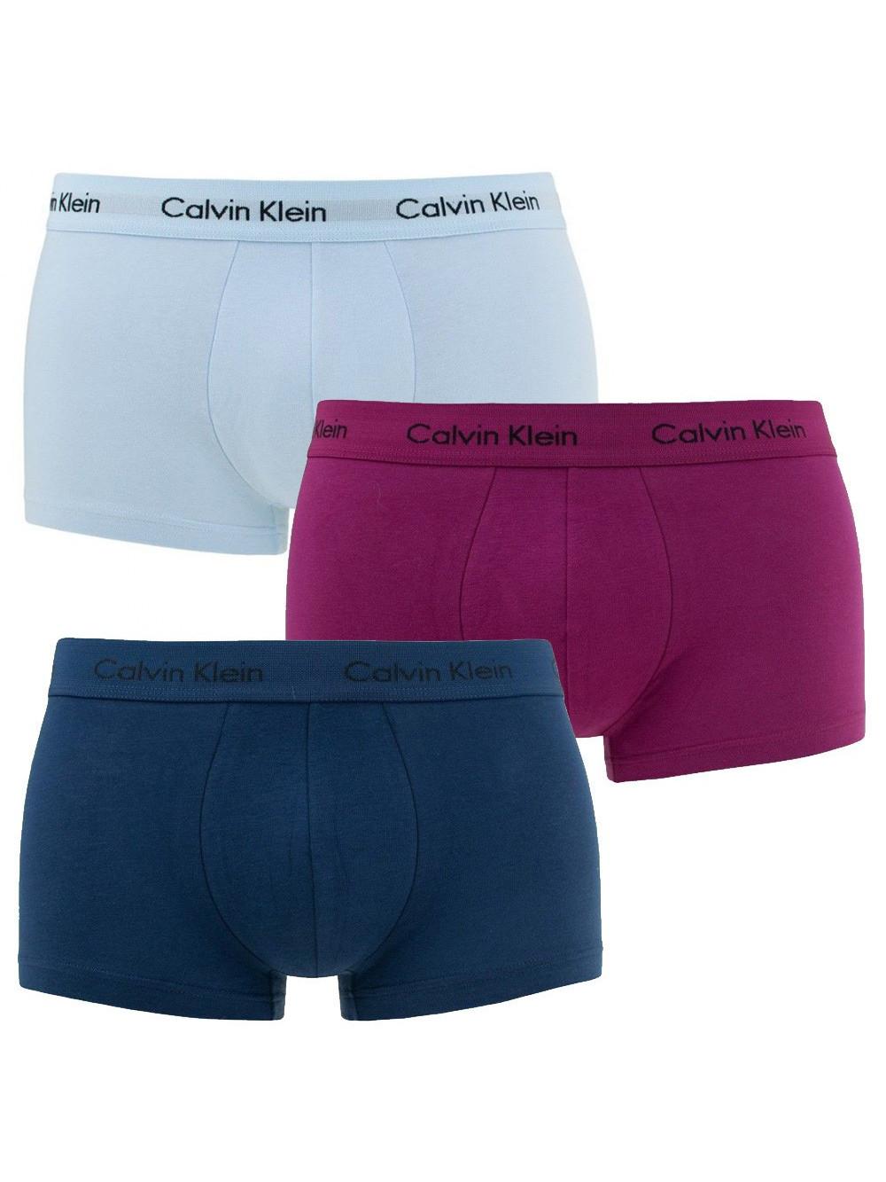 Pánske boxerky Calvin Klein Cotton Stretch biele, modré, fialové 3-pack