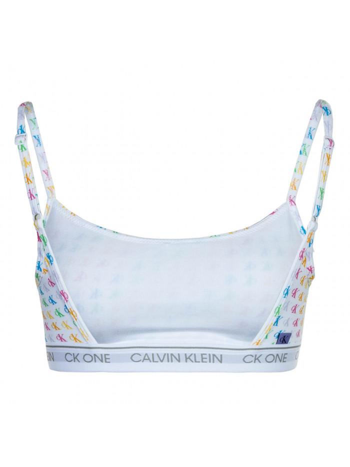 Dámska športová podprsenka Calvin Klein CK ONE Unlined Bralette Logo Pride biela