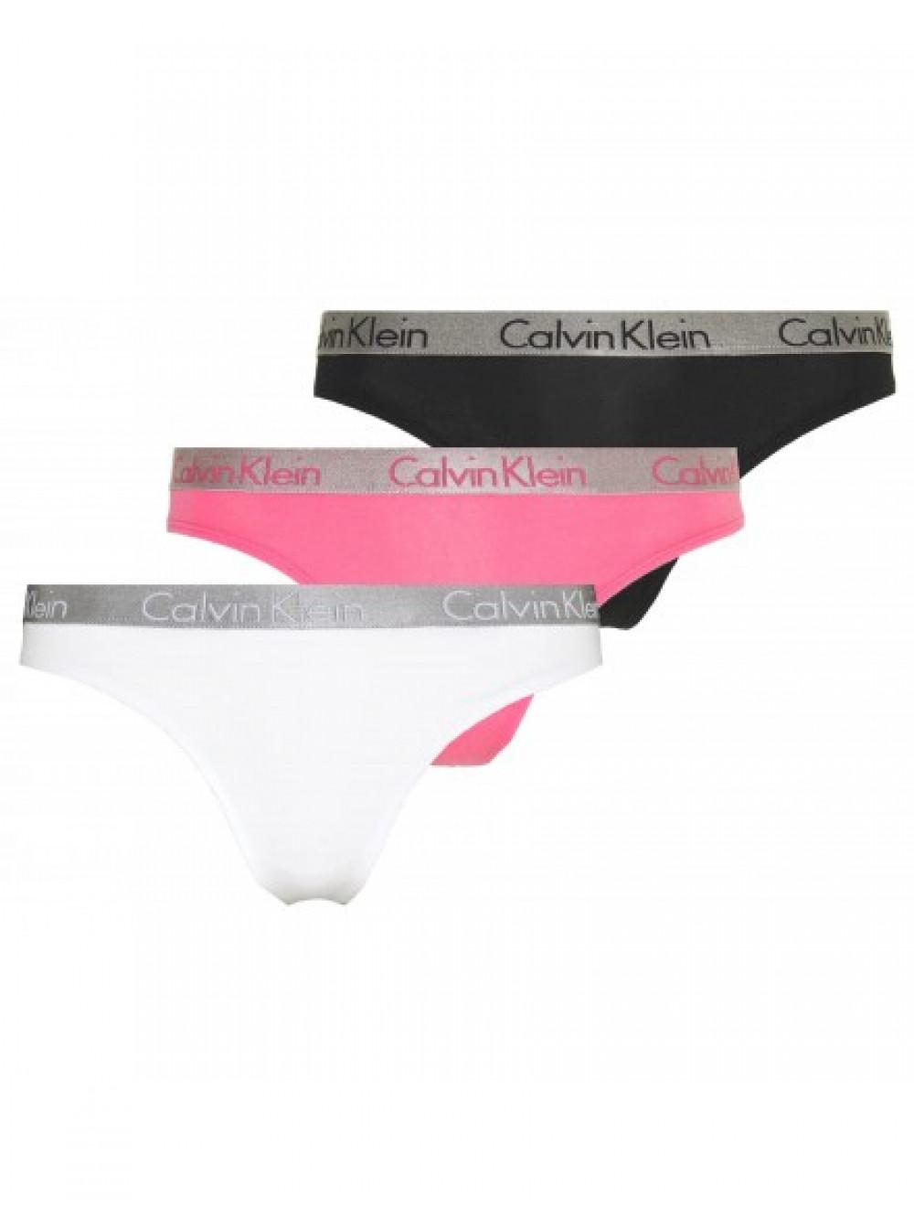 Dámske tangá Calvin Klein Radiant Cotton čierne, biele, ružové 3-pack
