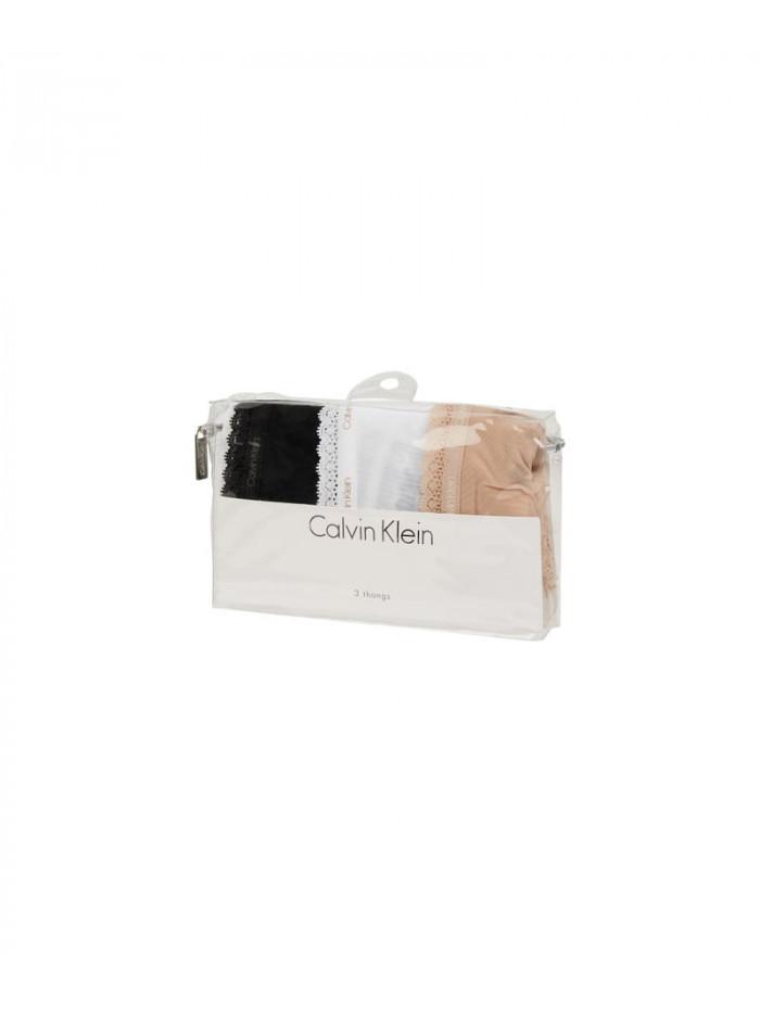 Dámske tangá Calvin Klein s čipkou čierne, biele, béžové 3-pack