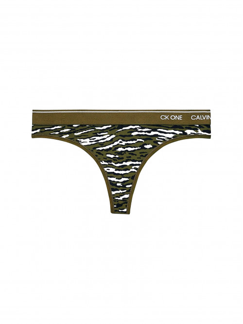 Dámske tangá Calvin Klein CK ONE Disarming Animal maskáčové zelené