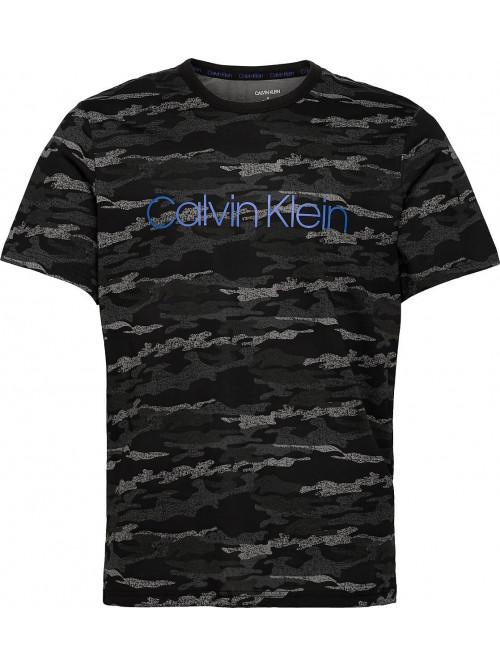 Pánske tričko Calvin Klein SS Crew Neck čierne / maskáčové