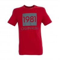 Pánske tričko Calvin Klein SS Crew Neck 1981 červe...