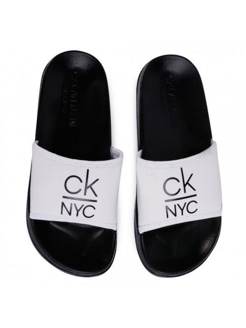 Dámske šľapky Calvin Klein NYC Slide bielo-čierne