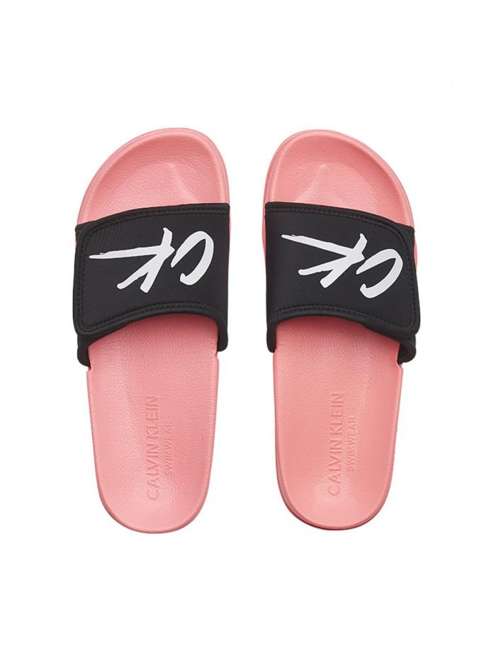 Dámske šľapky Calvin Klein Velcro Slide ružovo-čierne