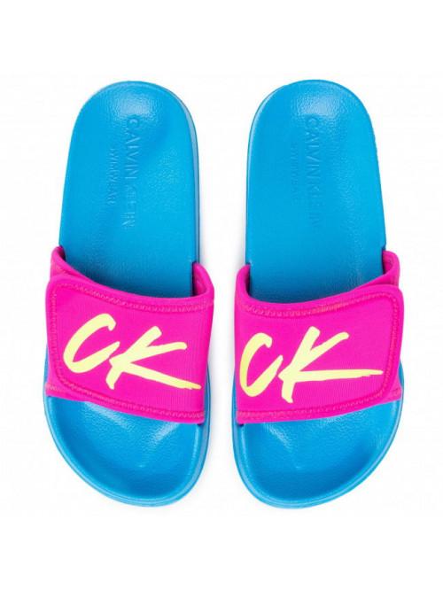Dámske šľapky Calvin Klein Velcro Slide ružovo-tyrkysové