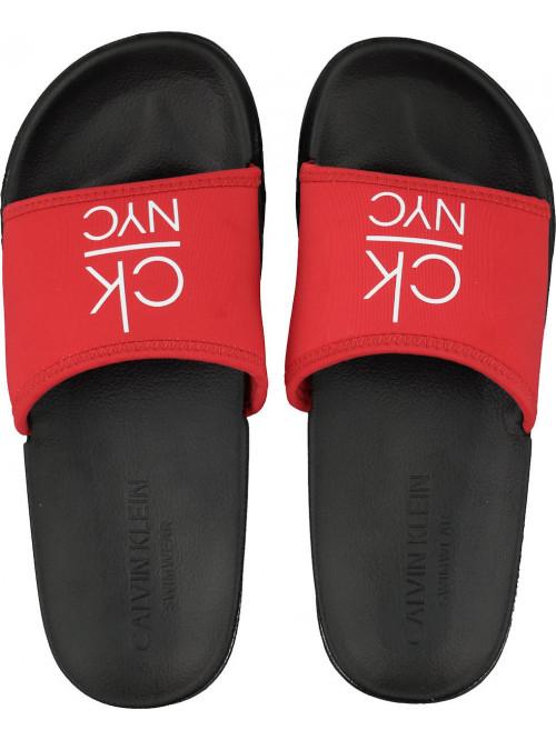 Dámske šľapky Calvin Klein NYC Slide červeno-čierne