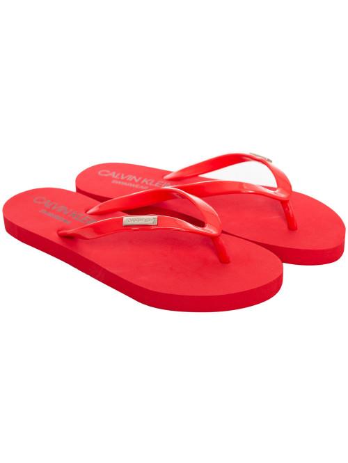 Dámske žabky Calvin Klein Swimwear Metal Logo červené
