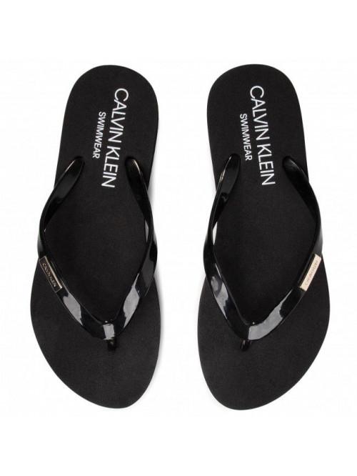 Dámske žabky Calvin Klein Swimwear Metal Logo čierne