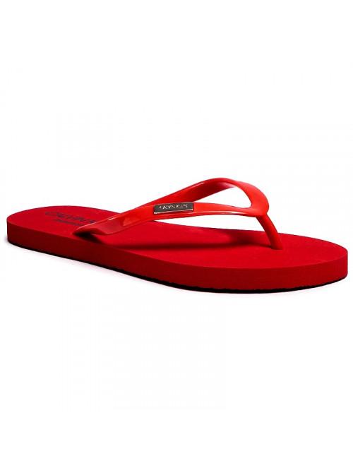 Dámske žabky Calvin Klein Swimwear Metal Logo tmavo-červené