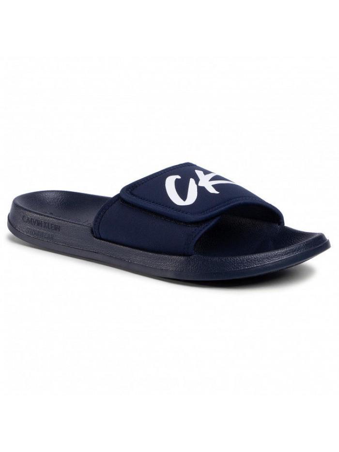 Pánske šľapky Calvin Klein Velcro Slide modré