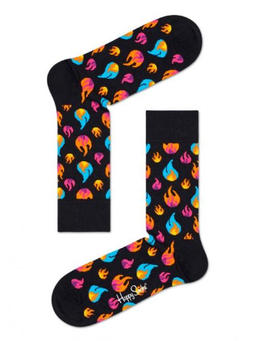 Ponožky Happy Socks Flames čierne