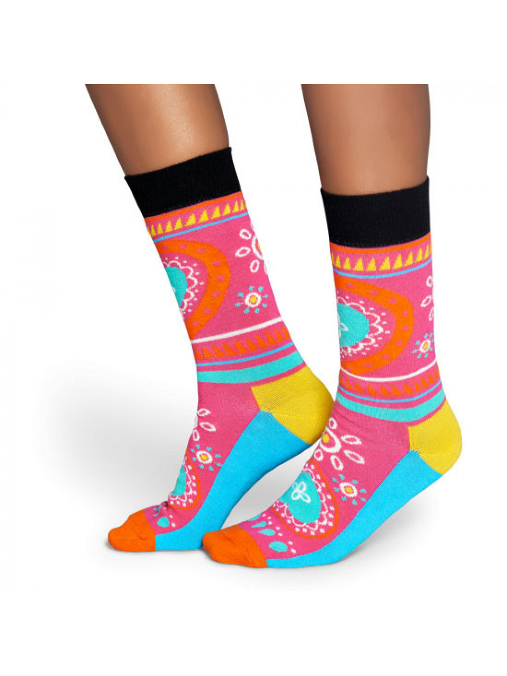 630d8f743 Ponožky Happy Socks Hippie ružové ľudové vzory srdce farebné ...