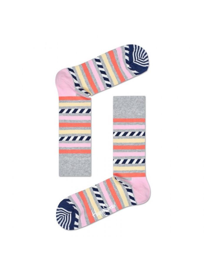 Ponožky Happy Socks Stripe & Stripe - sivé