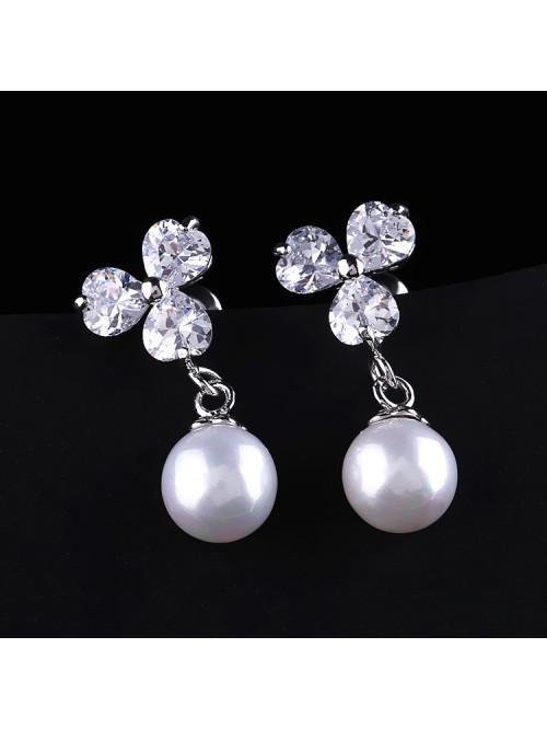Náušnice Biela perla strieboné