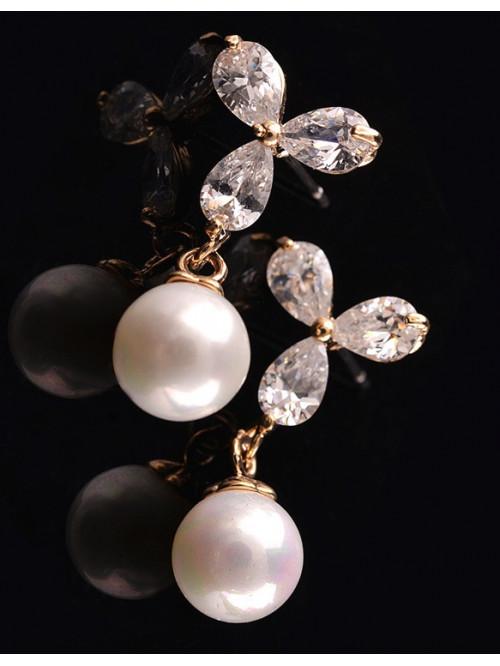 Náušnice Biela perla zlaté
