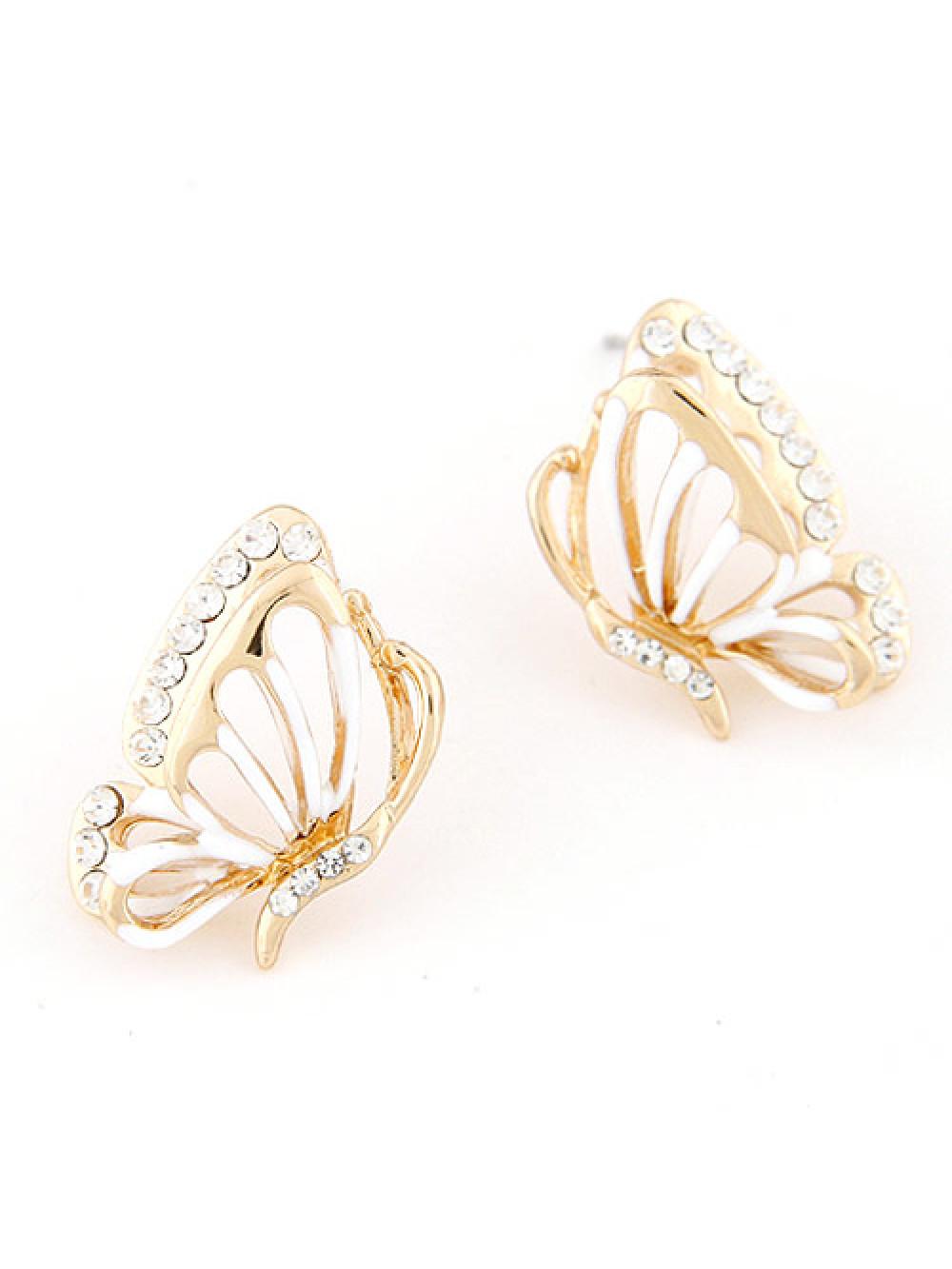 Náušnice Motýľ Biele
