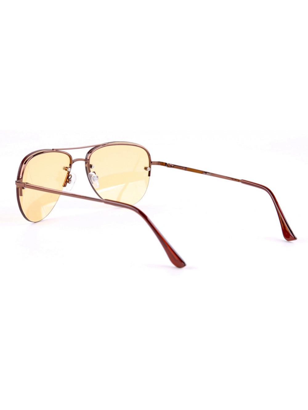 33656afef Slnečné okuliare Pilotky Aviator Pilot Night Vision žlté sklá hnedý ...