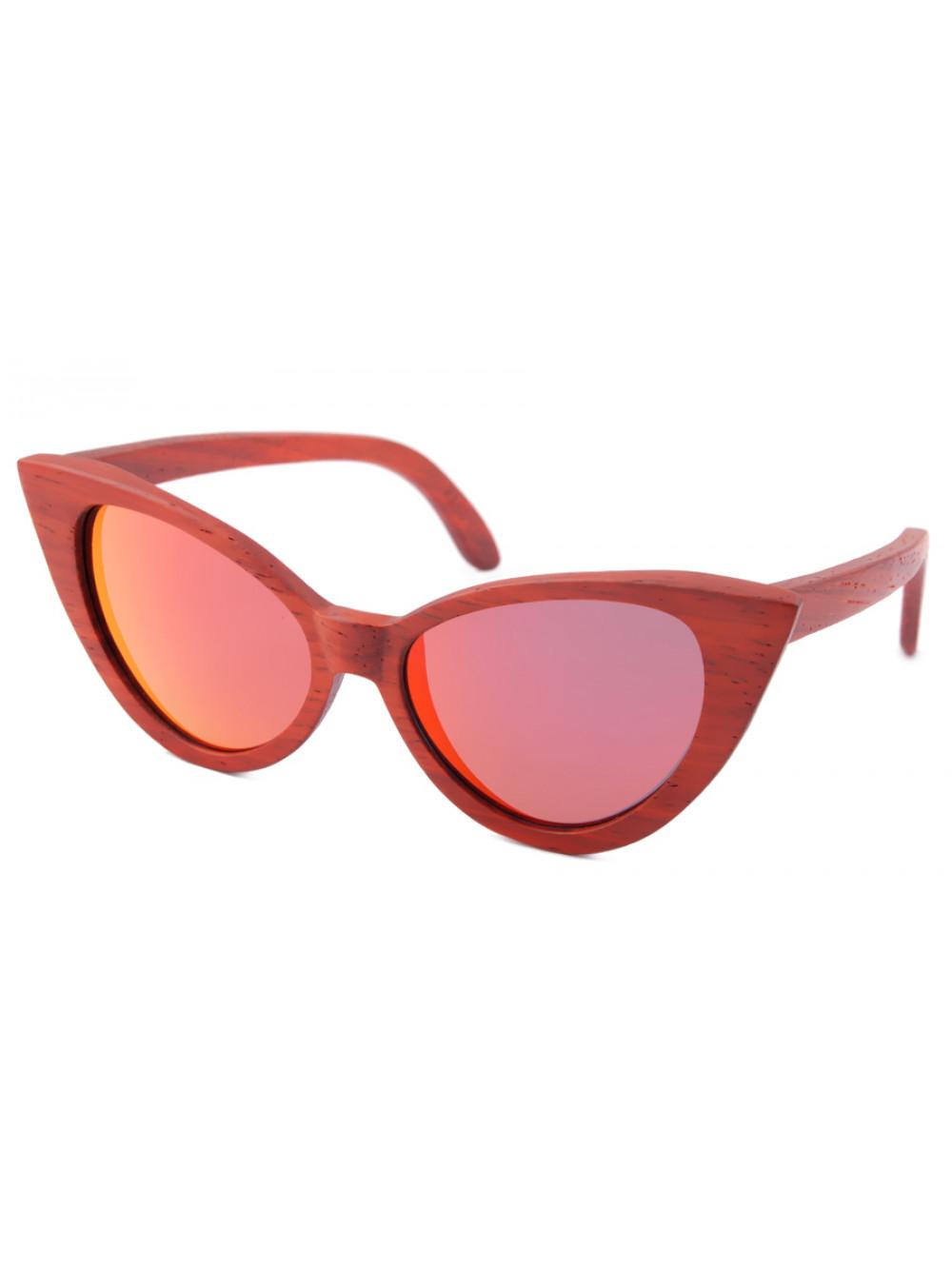 Drevené slnečné okuliare Red Cat Eyes