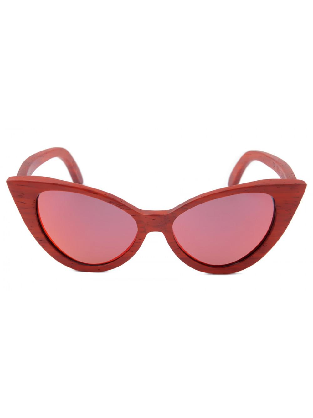 Dámske drevené slnečné okuliare Red Cat Eyes 974a2b594b1