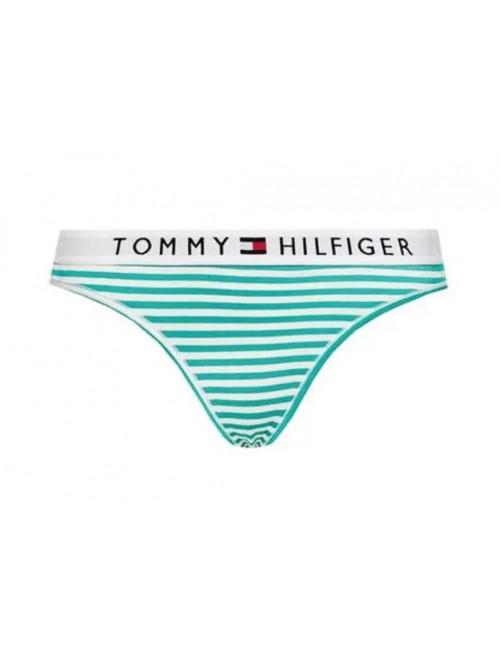 Dámske tangá Tommy Hilfiger Stripe Stretch Organic Cotton zelené prúžky