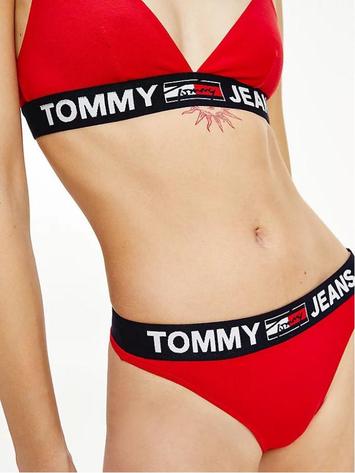 Dámske tangá Tommy Hilfiger Contrast Waistband Logo Thong červené