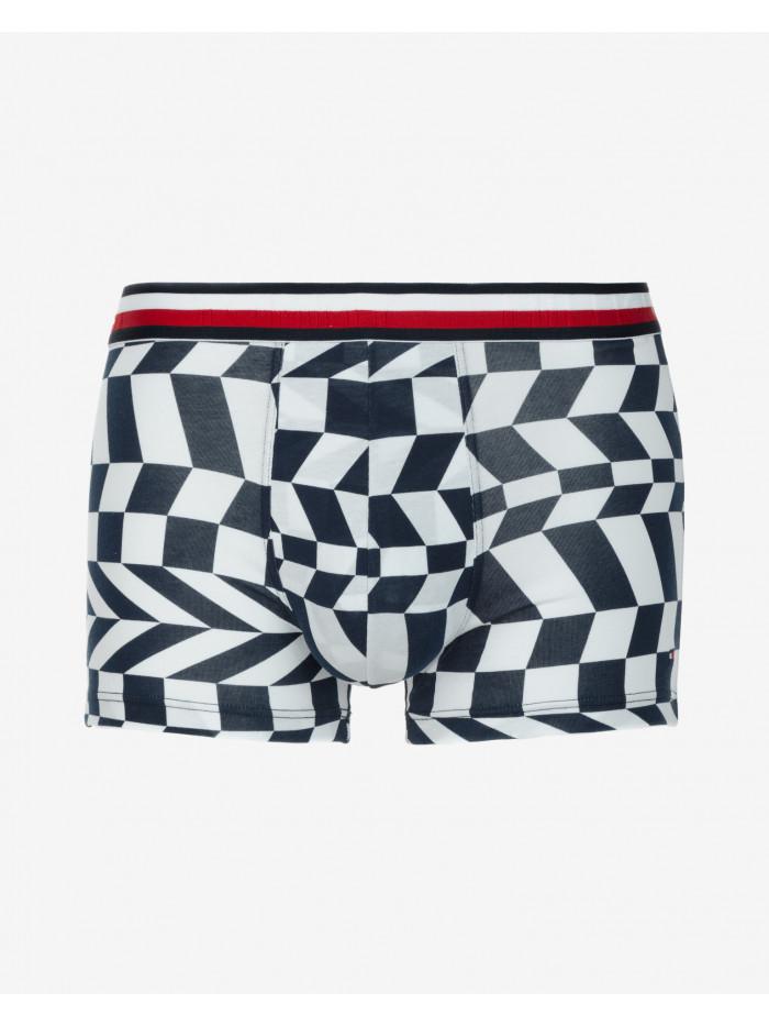 Pánske Boxerky Tommy Hilfiger Trunk Squares Motion tmavomodro-biele, vzorované