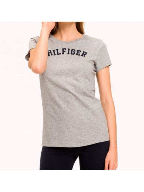 Dámske tričko Tommy Hilfiger SS TEE PRINT sivé