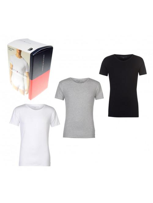 Pánske tričká Tommy Hilfiger C-Neck Tee SS sivé, biele a čierne 3-pack