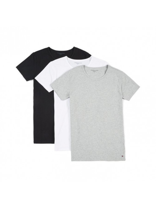 Pánske tričko Tommy Hilfiger C-Neck Tee SS sivé, biele a čierne 3-pack