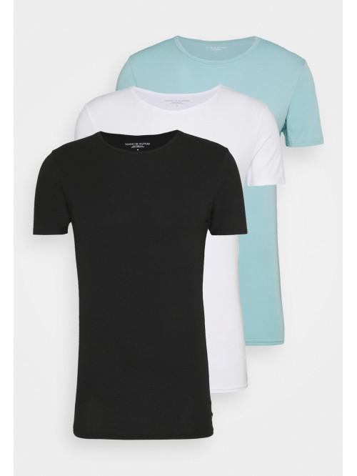 Pánske tričká Tommy Hilfiger C-Neck Tee SS čierne, biele, svetlomodré 3-pack