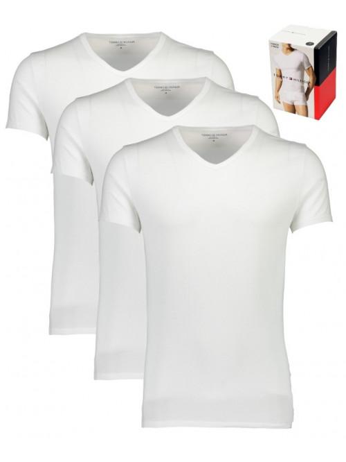 Pánske tričká Tommy Hilfiger V-Neck Tee SS biele 3-pack