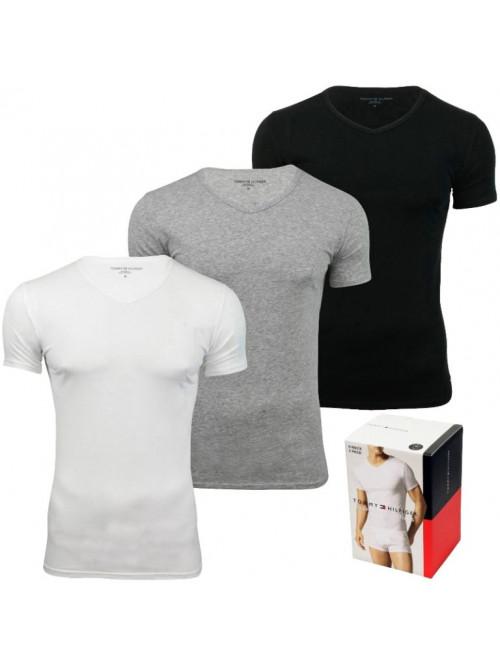 Pánske tričká Tommy Hilfiger V-Neck Tee SS sivé, biele a čierne 3-pack