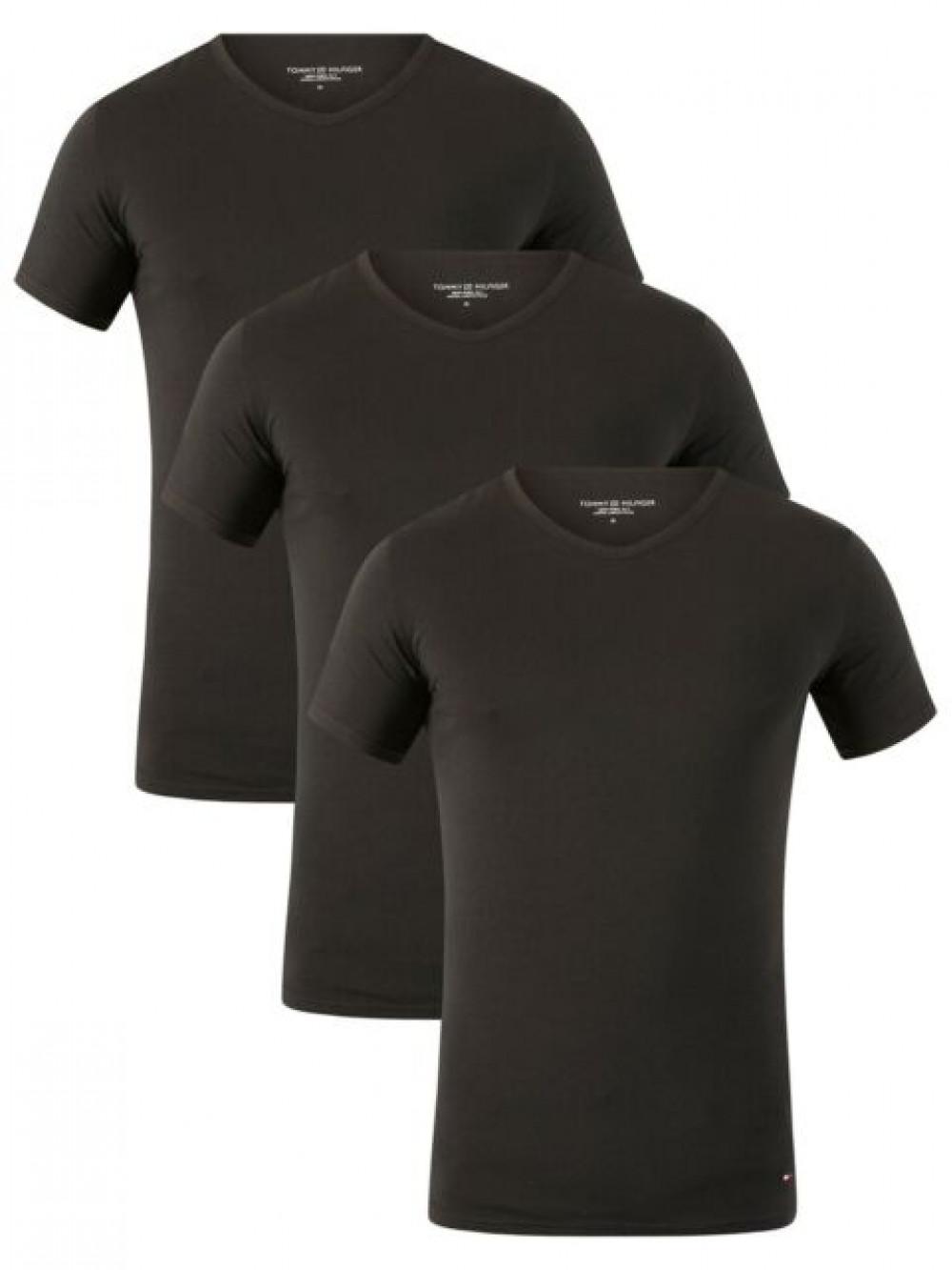 Pánske tričko Tommy Hilfiger V-Neck Tee SS čierne 3-pack