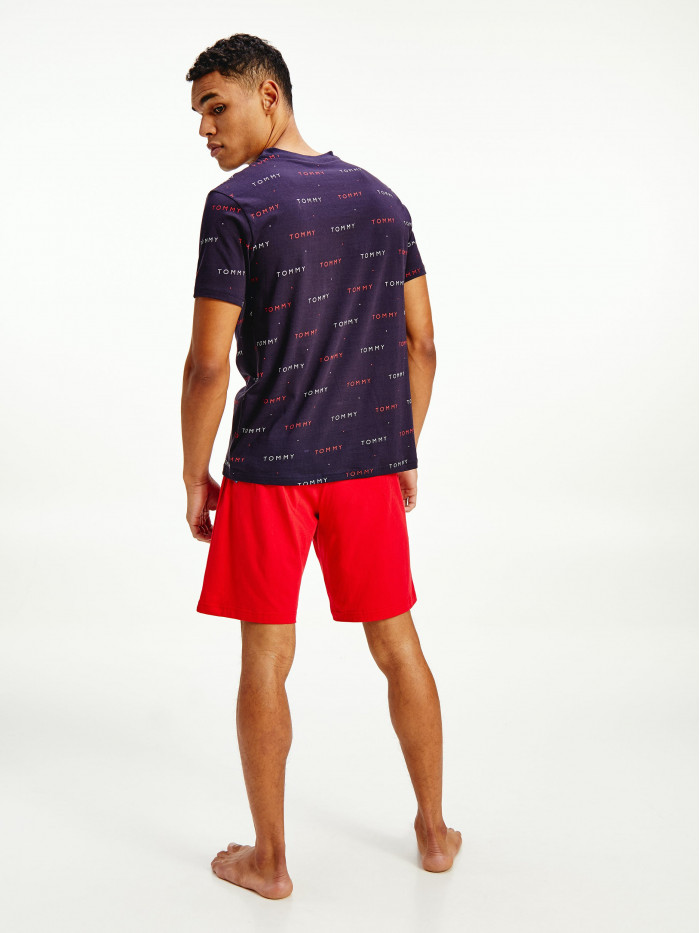 Pánske tričko Tommy Hilfiger ALL-OVER EMBROIDERY Navy